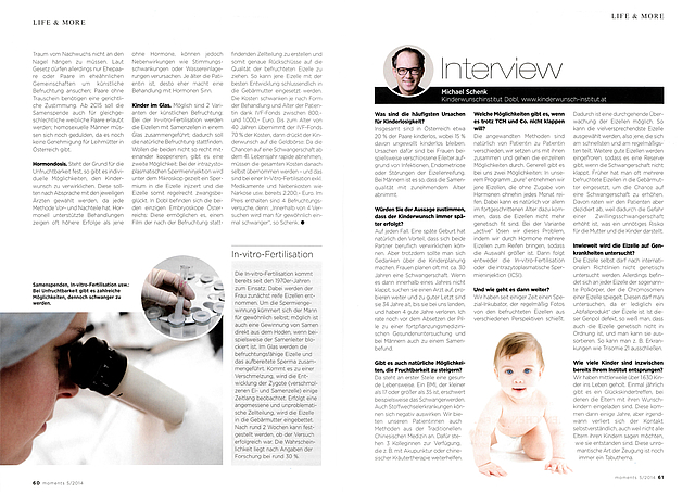 Covering of Kinderwunsch Institut in moments / issue 05 May 2014